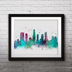 Los Angeles USA Skyline poster, Art Print, Watercolor, painting, Wall Home Decor