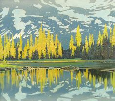 Evening Reflection Surprise Lake Tonquin Valley Robert Genn Acrylic on Canvas Acrylic on canvas 30 x 34 Inches