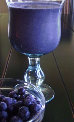 """The Purple Princess Ingredients 1 cup spinach 1/2 cup black seedless grapes 1/2 cup blueberries 1 medium banana 1/4 cup almonds 1/2 unsweetened almond milk 1 scoop whey protein powder  The Purple Princess is PACKED with protein! Because of this, we find this is a great breakfast Nutriblast, as the protein and fat content is a great way to """"wake up"""" your brain and your metabolism."""