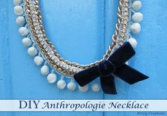 I made DIY anthropologie necklace with pompoms, rhinestones, silver chain, and velvet ribbon by artzycreations.com