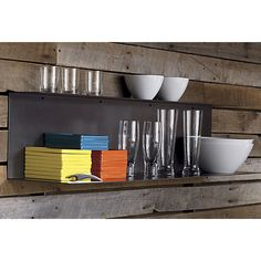 bent metal wall shelf in wall mounted storage | CB2 kitchen wall by window? or under hood?