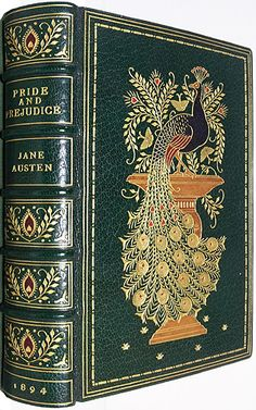 1894, 1st Peacock edition of Pride and Prejudice ~ in a stunning Sangorski and Sutcliffe full dark green leather binding.  (If I ever win the lottery. So beautiful.) <3