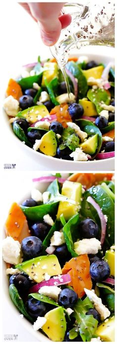 Brain Power Salad -- this smart salad is filled with delicious ingredients that are all good for brain health!   http://gimmesomeoven.com #salad #recipe