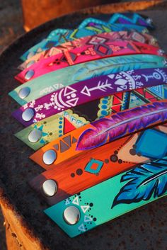 hand-painted Native American inspired leather Cuffs