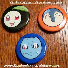 Gen 2 Starters Pinback Button Set by ChibiRoseArt.deviantart.com on @DeviantArt  On sale in my storenvy shop! Link is in my bio~