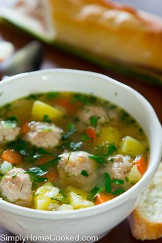 A delicious chicken meatball soup is the perfect comfort food recipe you have been craving! Easy to make homemade chicken meatballs give this all the flavor you are looking for in a soup. Clear Vegetable Soup, Vegetable Soup Crock Pot, Vegetable Soup With Chicken, Veggie Soup, Crock Pots, Vegetable Gardening, Chicken Meatball Soup, Chicken Meatballs, Chicken Soup Recipes