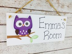 Personalized Purple Owl Kid's Door Sign or by DebbiesCutsAndCrafts