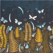 navy 'Biology' butterfly night meadow Cloud 9 organic cotton fabric