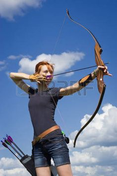 archery field: Archery woman bends bow archer target narrow in the summer field Action Pose Reference, Pose Reference Photo, Drawing Reference Poses, Action Poses, Drawing Poses, Archery Poses, Archery Girl, Field Archery, Figure Drawing Models