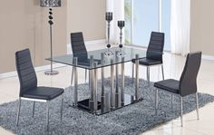 Black Glass Stainless Steel Dining Table