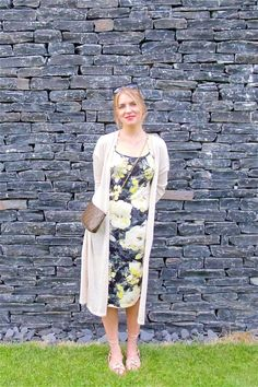 Heartfelt Hunt - Slate Houses -  Flower dress, long cardigan, cat eye sunglasses, Louis Vuitton bag, lace sandals and blond french twist hairstyle