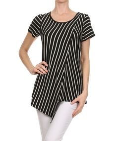 Look at this #zulilyfind! Black & Ivory Asymmetrical Tunic by One Fashion #zulilyfinds