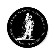 Bride and Groom Black Happily Ever After Sticker