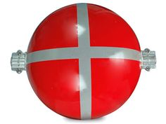 The picture shows a red obstruction marking sphere with reflective strip.