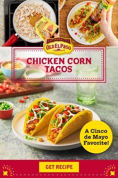 Mexican Cookbook, Mexican Food Recipes, Ethnic Recipes, Shredded Chicken Tacos, Taco Shells, Chicken Taco Recipes, Healthy Food, Healthy Recipes, Frozen Corn