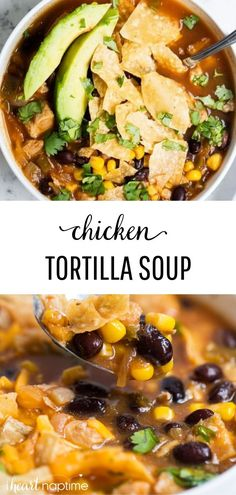 This chicken tortilla soup recipe is made in ONE pot and is so delicious! Always a crowd pleaser and tastes great loaded with cheese, avocado and tortilla chips! food recipes One Pot Chicken Tortilla Soup Healthy Diet Recipes, Mexican Food Recipes, Vegetarian Recipes, Dip Recipes, Light Recipes, Healthy Fall Soups, Fall Soup Recipes, Skillet Recipes, Dinner Healthy