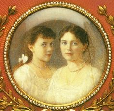 "Miniature portrait of Grand Duchesses Maria and Anastasia Nikolaevna Romanova of Russia, youngest daughters of the last Russian Tsar. ""AL"""