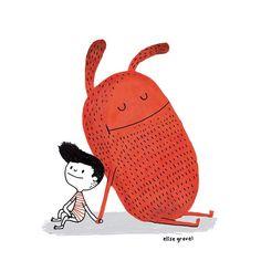 #friendship . #illustrationoftheday #monster by elise_gravel