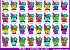 Gekleurde piet, aftelkalender Sinterklaas 31 dagenlang voorpret voor kinderen
