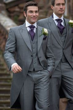 3 Piece Men Tailcoat Morning Suits Wedding Groom Tuxedos Long Groomsmen Suit