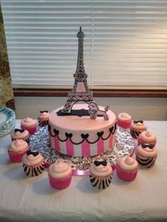 Birthday Request for Paris Theme….Eiffel Tower and Poodle made from Gumpaste, dusted pink and painted with black gel thined with vodka Paris Birthday Cakes, Paris Themed Cakes, Paris Themed Birthday Party, 13th Birthday Parties, Themed Birthday Cakes, Paris Party, 10th Birthday, Eiffel Tower Cake, Eiffel Towers