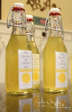 Homemade Limoncello - Easier than you think! - Homemade labels - #limoncello foodiechicksrule.com