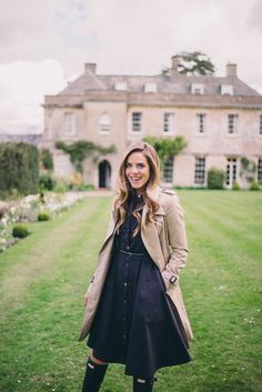 Gal Meets Glam Spring in Somerset - Burberry Trench, Carven sweater, Theory dress and Hunter Boots