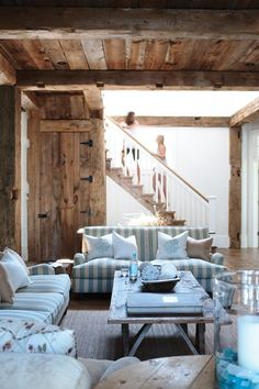 Light pastel shades compliment bare or distressed wood...love the old wood look, its not too much
