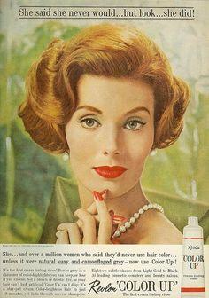 Retro Makeup Vintage Revlon hair color ad - From Mademoiselle, September 1961 1950s Makeup, Vintage Makeup Ads, Retro Makeup, Vintage Beauty, Vintage Ads, Vintage Fashion, Sixties Makeup, Vintage Trends, Vintage Designs