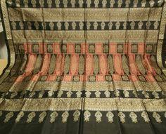 Pot Motifs Border and aanchal Bomkai Saree in Silk with Blouse Piece, ikat sari,Hand woven sari,ikatt saree,