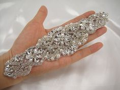 Rhinestone applique, Diamante Applique, crystal applique for Bridal Sash, Bridal Applique, wedding applique, Gatsby Style, Wedding belt
