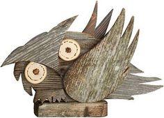 Gufo di larice invecchiato destra, scultura in legno Val Gardena