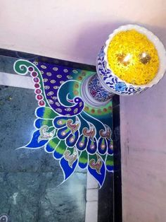 Beautiful and Easy Indian Peacock Rangoli Designs - Indian Fashion Ideas Easy Rangoli Patterns, Rangoli Designs Peacock, Rangoli Designs Latest, Rangoli Borders, Rangoli Border Designs, Colorful Rangoli Designs, Rangoli Ideas, Rangoli Designs Images, Beautiful Rangoli Designs