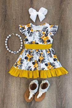 Mariah Mustard Floral Dress