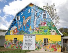 """The Lucy School, 9117 Frostown Road, Middletown, Frederick County, features a mural from the """"Poetry and Art in Rural Maryland"""" campaign."""