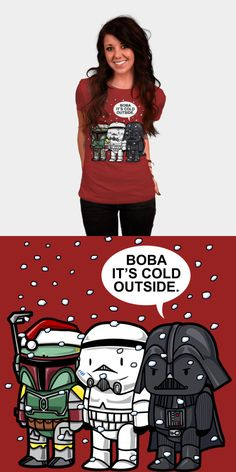 Funny Official Star Wars Christmas T Shirt   Boba, it's cold outside. A cute tee for the holidays, featuring Boba Fett, Darth Vader and a Stormtrooper.   Visit http://shirtminion.com/2015/11/official-star-wars-christmas-t-shirt/