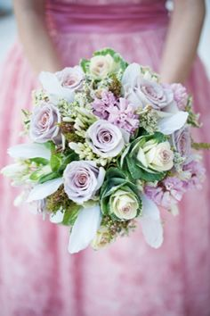 Rose and cabbage bridal bouquet | Jessica Maida Photography | see more on http://burnettsboards.com/2014/02/stylized-bridal-portraits-pink-dress-matching-cake/