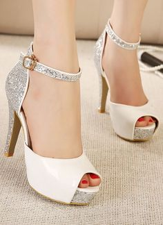 White and silver high heel sandals