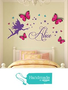 Personalised name, Fairy Vinyl Wall Art Sticker, Mural, Decal with personalised princess 3D butterflies. Children's bedroom, nursery, playroom decor from Fabulous Wall Art Stickers https://www.amazon.co.uk/dp/B01M0NH11B/ref=hnd_sw_r_pi_dp_fTh.xb1FAWKRV #handmadeatamazon