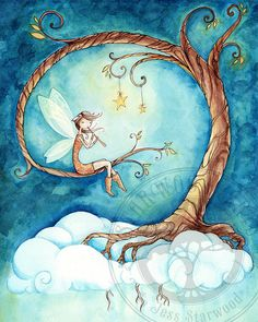 Starsound Fairy Tree and Stars : Watercolor Painting Print via Etsy