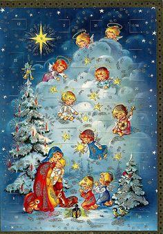 Popular German Christmas Traditions – German USA – Famous Last Words Vintage Christmas Cards, Retro Christmas, Vintage Cards, Vintage Postcards, Christmas Past, Christmas Pictures, Christmas Angels, Christmas Glitter, German Advent Calendar