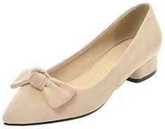 00877c2830b2 Mofri Womens Sweet Faux Suede Bowknot Pointed Toe Low Cut OL Work Shoes Block  Low Heel