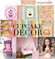 Cupcake Decor by saachistyle on Polyvore featuring interior, interiors, interior design, home, home decor, interior decorating, Dot & Bo, Artgoodies, Shibuya and cupcakedecor