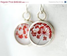 Red and White Earrings Nature Jewelry Paper by WildWomanJewelry