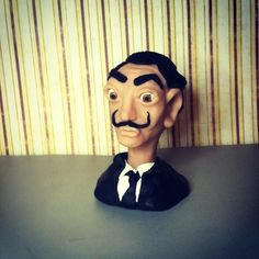 Salvador Dali bust. Handcrafted from polymer clay.