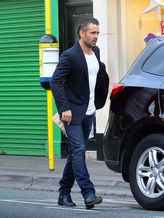leave it up to colin farrell to make a slicked-back hairsyle & a blazer look sexy