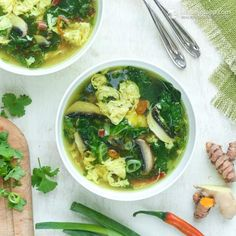 Egg Drop Soup (Chicken stock, turmeric, ginger, mushrooms, spinach, eggs, onions, cilantro and other spices)