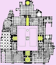 Planta de la Mezquita de Isfahán, Iran, s.XII. Con cuatro iwanes