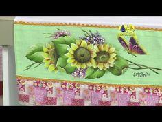 Vida com Arte | Pintura em tecido - Barrado girassóis por Beth Matteelli...