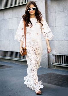 Latte down the front? We can help with that. Gilda Ambrosio rocks the best white lace maxi we've seen all summer @whowhatwear photo: @styledumonde